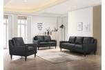 Lazio Black Leather Sofa, Loveseat & Chair, L5990