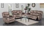Logan Brown Velvety Soft Microfiber Leather Look Pattern Reclining Sofa