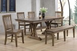 Carmel Rustic Brown Dining Table with Butterfly Leaf, Bench & Chair, DC33878R