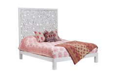Bali White Mango Wood Queen Bed by Porter Designs
