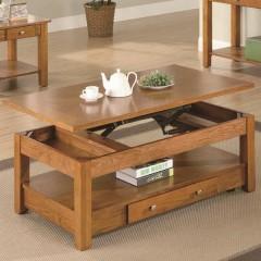 Oak Finish Lift Top Coffee Table, CO-701438
