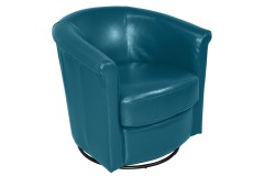 Marvel Teal Leather-Look Swivel Accent Chair by Porter Designs