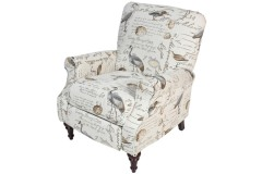 Aviary Cream Fabric with Pattern Pushback Accent Chair by Porter Designs