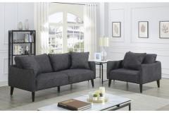 Asher Gray Velvet Linen Style Microfiber Sofa & Chair by Porter Designs