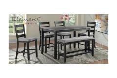 Martin Gray 6pc Counter Set [Table + 4 Bar Chairs + Bench], DMT3006CS